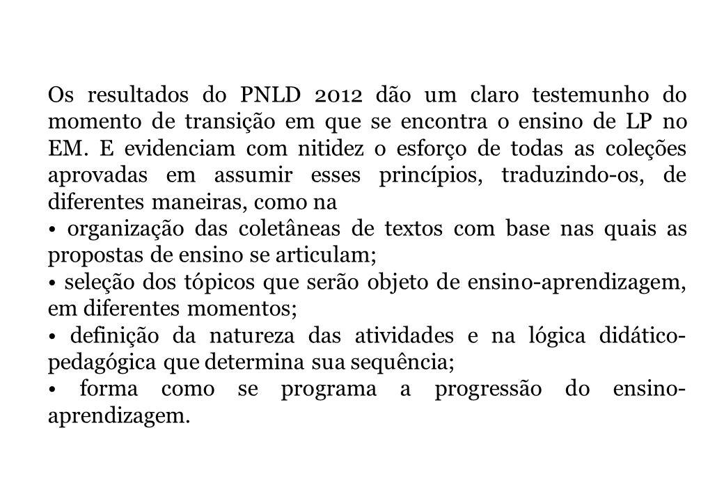 Os resultados do PNLD 2012 dão um claro testemunho do momento de transição em que se encontra o ensino de LP no EM. E evidenciam com nitidez o esforço de todas as coleções aprovadas em assumir esses princípios, traduzindo-os, de diferentes maneiras, como na