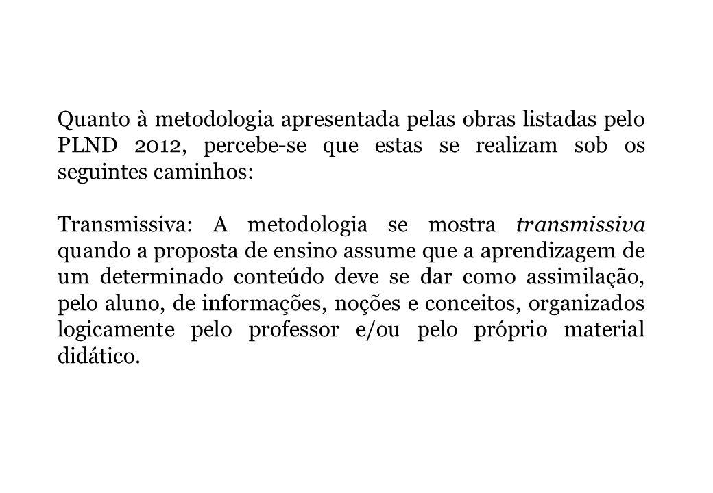 Quanto à metodologia apresentada pelas obras listadas pelo PLND 2012, percebe-se que estas se realizam sob os seguintes caminhos: