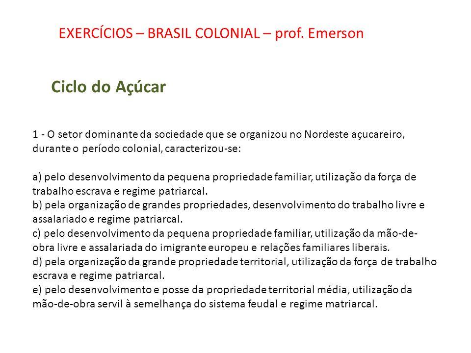 Ciclo do Açúcar EXERCÍCIOS – BRASIL COLONIAL – prof. Emerson