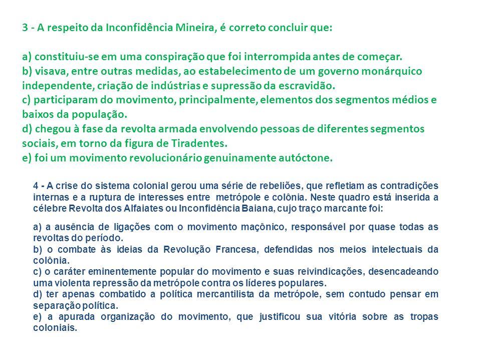 3 - A respeito da Inconfidência Mineira, é correto concluir que: