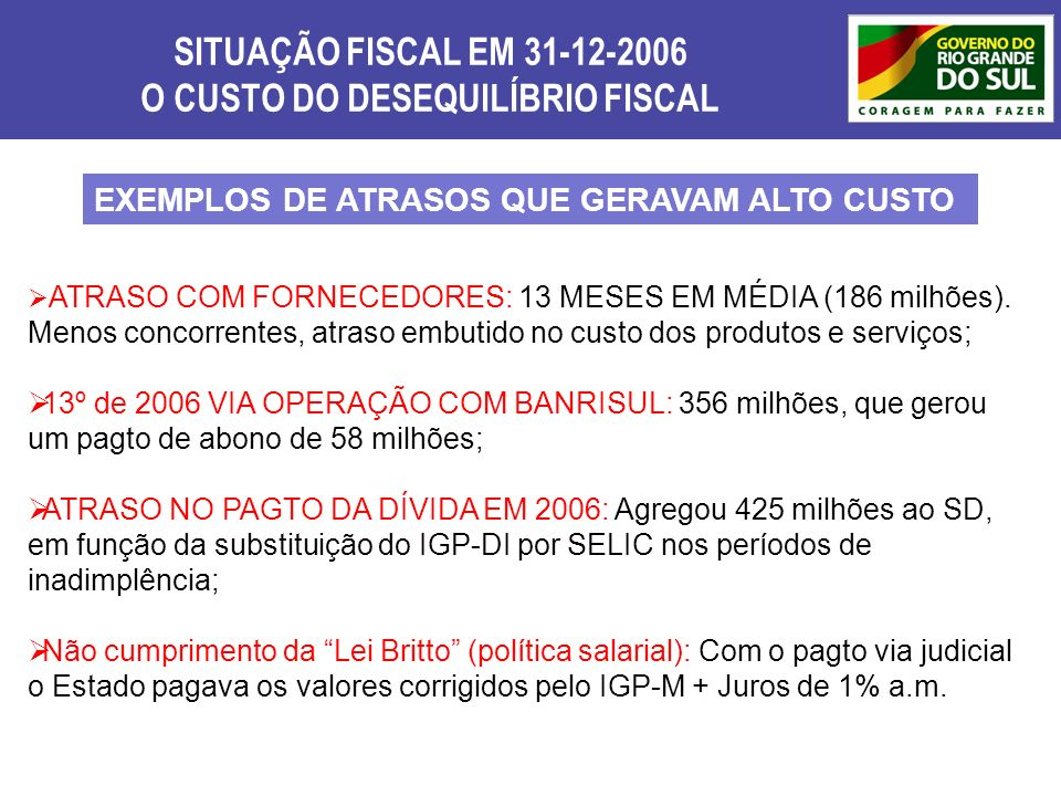 O CUSTO DO DESEQUILÍBRIO FISCAL