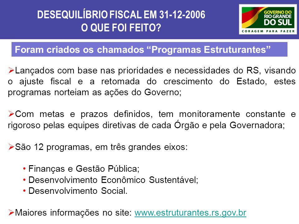 DESEQUILÍBRIO FISCAL EM 31-12-2006