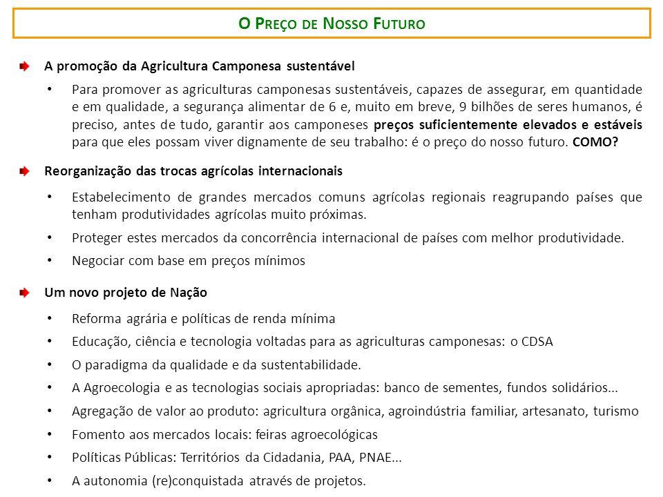 O Preço de Nosso Futuro A promoção da Agricultura Camponesa sustentável.