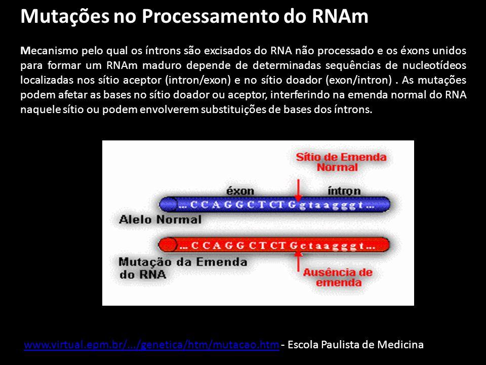 Mutações no Processamento do RNAm