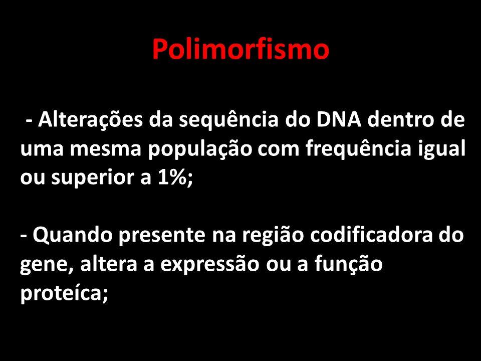 Polimorfismo - Alterações da sequência do DNA dentro de uma mesma população com frequência igual ou superior a 1%;
