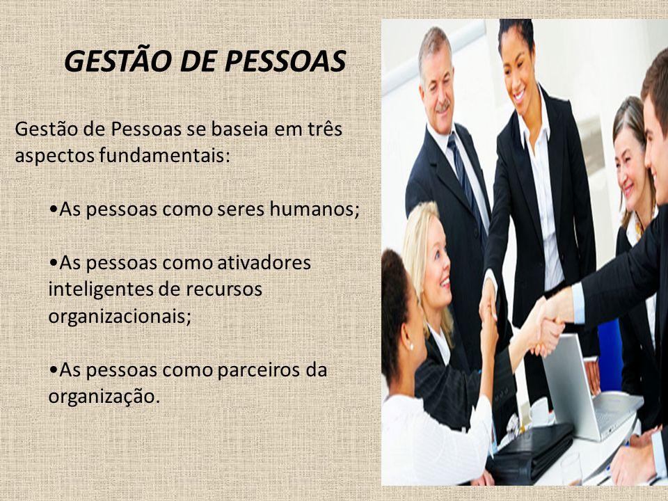 GESTÃO DE PESSOAS Gestão de Pessoas se baseia em três aspectos fundamentais: As pessoas como seres humanos;