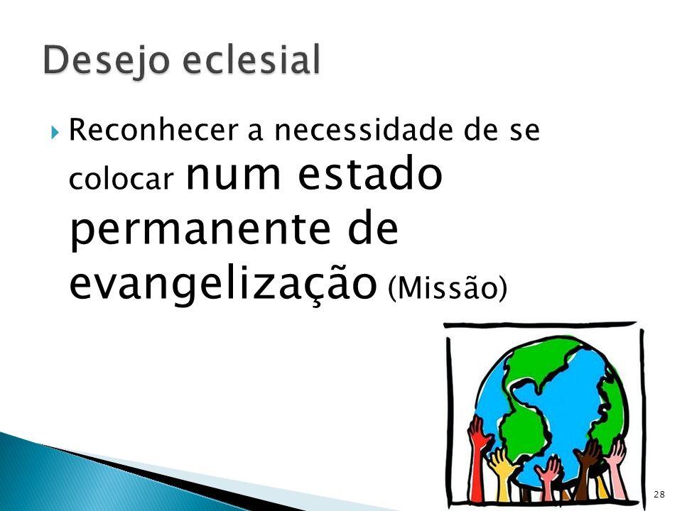 Desejo eclesial Reconhecer a necessidade de se colocar num estado permanente de evangelização (Missão)