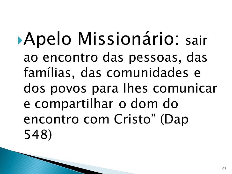 Apelo Missionário: sair ao encontro das pessoas, das famílias, das comunidades e dos povos para lhes comunicar e compartilhar o dom do encontro com Cristo (Dap 548)