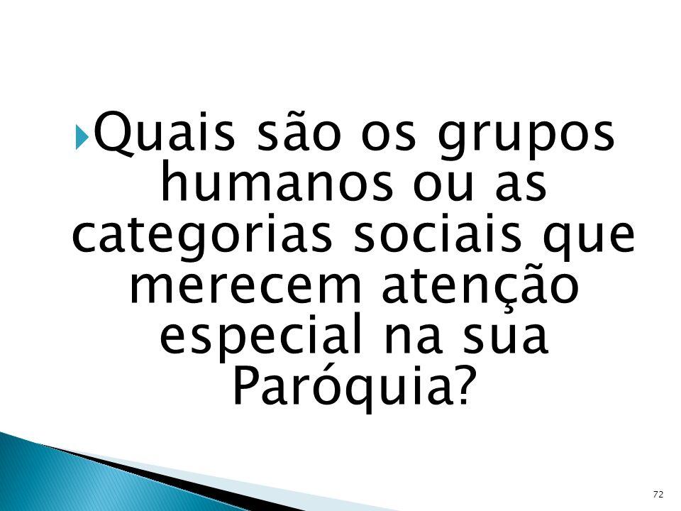 Quais são os grupos humanos ou as categorias sociais que merecem atenção especial na sua Paróquia