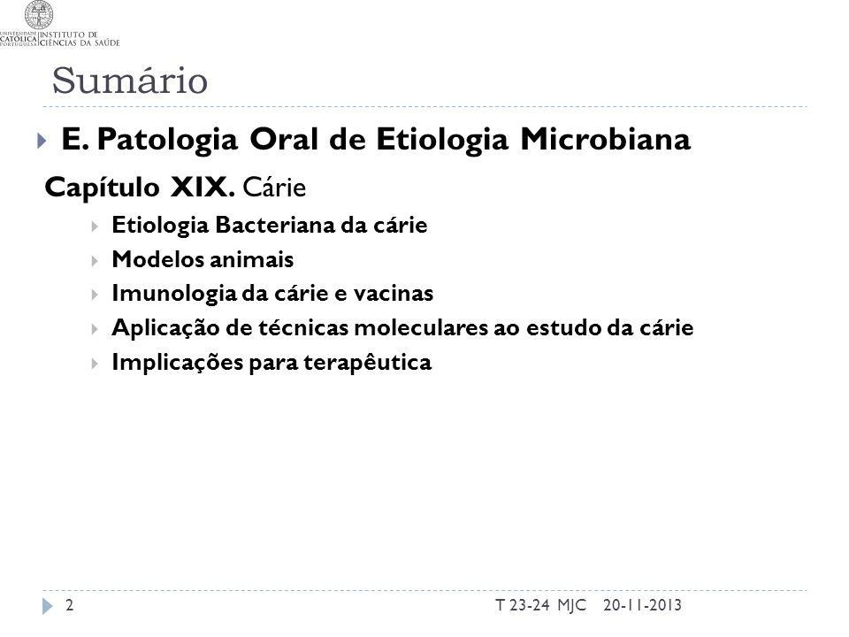 Sumário E. Patologia Oral de Etiologia Microbiana Capítulo XIX. Cárie
