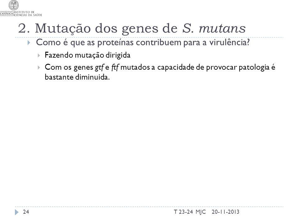 2. Mutação dos genes de S. mutans