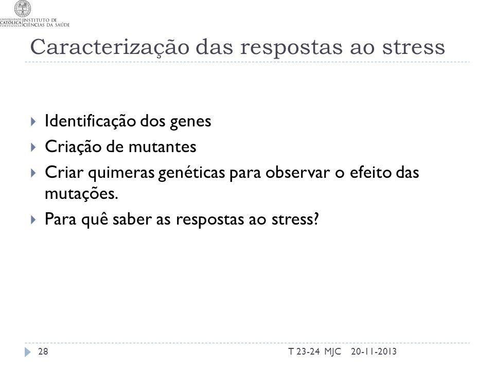 Caracterização das respostas ao stress