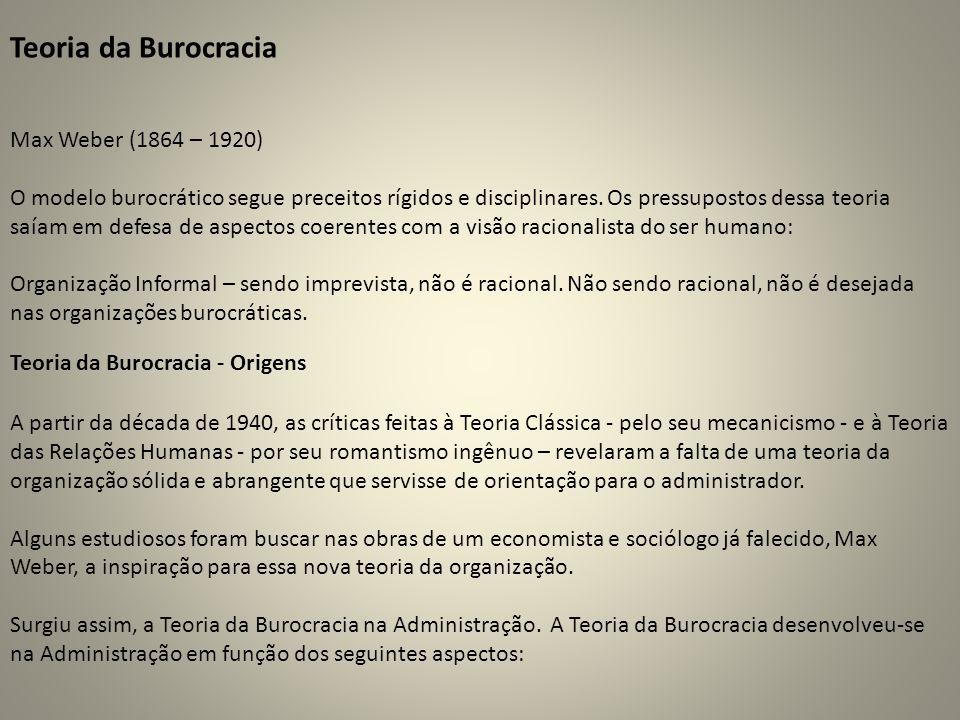 Teoria da Burocracia Max Weber (1864 – 1920)