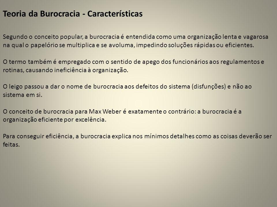 Teoria da Burocracia - Características