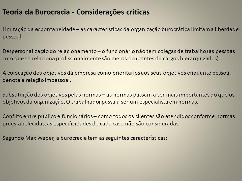 Teoria da Burocracia - Considerações críticas
