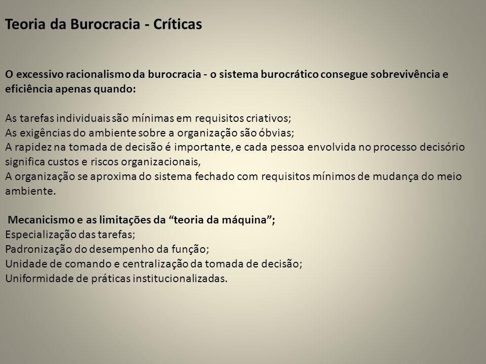 Teoria da Burocracia - Críticas