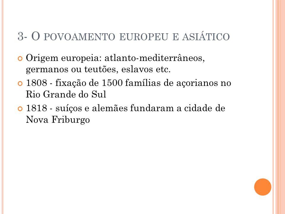 3- O povoamento europeu e asiático