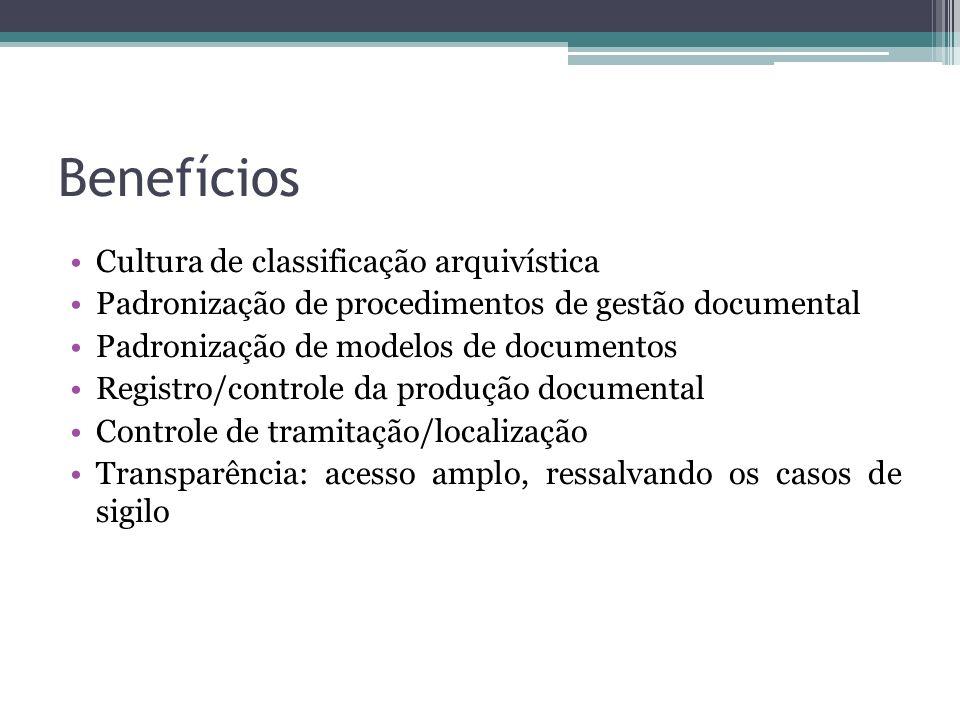 Benefícios Cultura de classificação arquivística