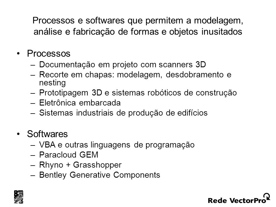 Processos e softwares que permitem a modelagem, análise e fabricação de formas e objetos inusitados
