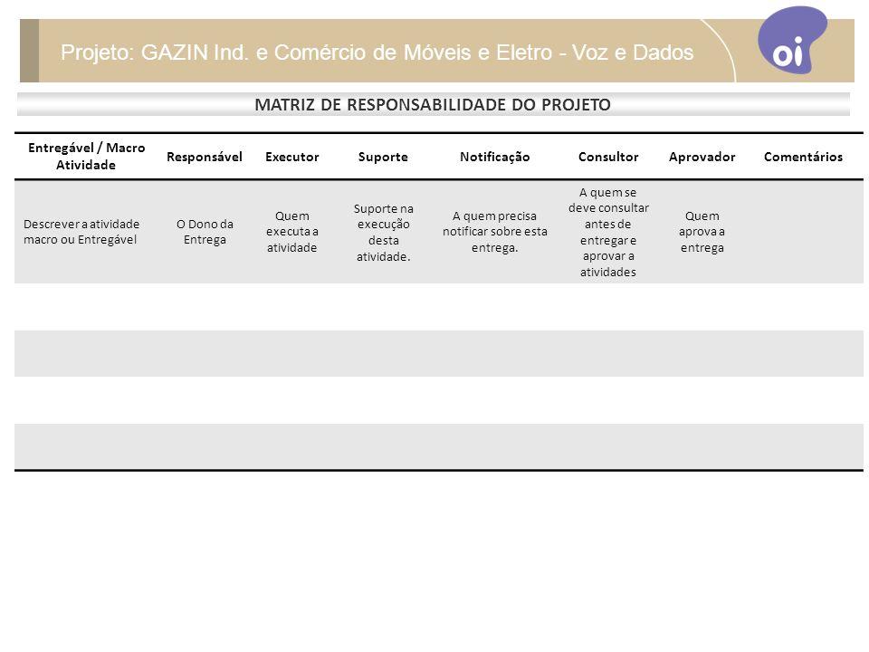 MATRIZ DE RESPONSABILIDADE DO PROJETO Entregável / Macro Atividade