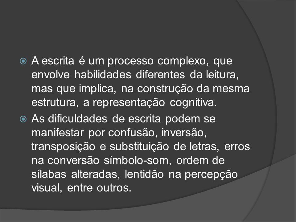 A escrita é um processo complexo, que envolve habilidades diferentes da leitura, mas que implica, na construção da mesma estrutura, a representação cognitiva.