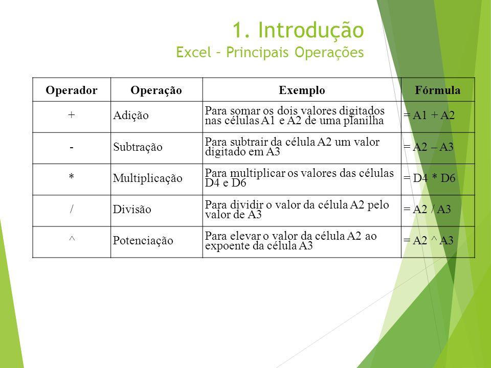1. Introdução Excel – Principais Operações