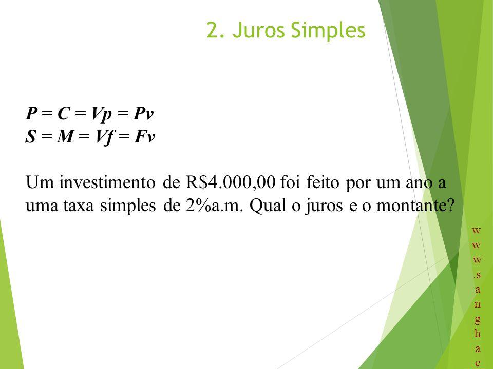 2. Juros Simples P = C = Vp = Pv S = M = Vf = Fv