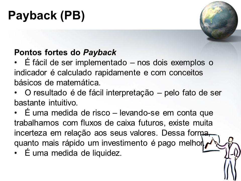 Payback (PB) Pontos fortes do Payback