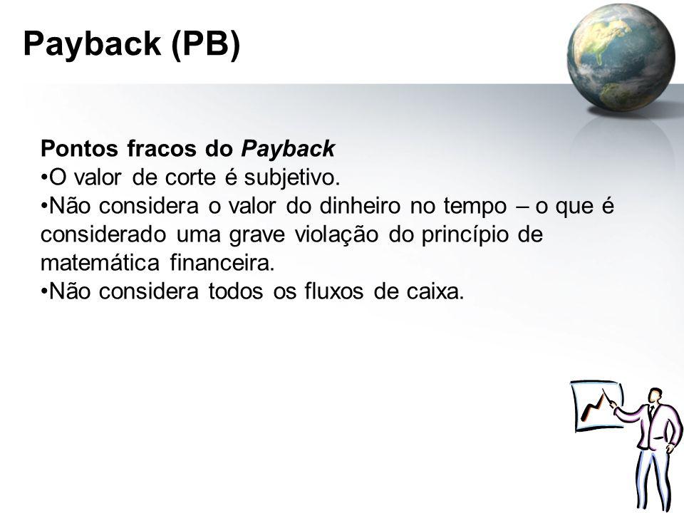 Payback (PB) Pontos fracos do Payback O valor de corte é subjetivo.