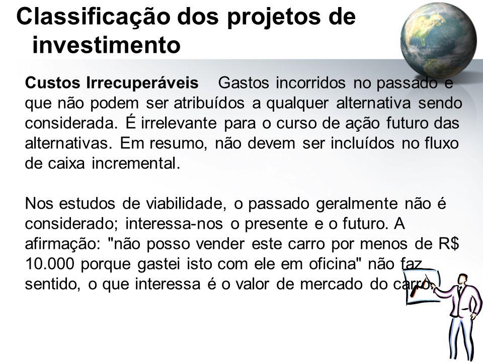 Classificação dos projetos de investimento