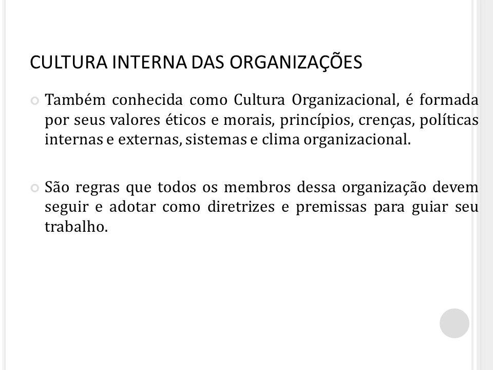 CULTURA INTERNA DAS ORGANIZAÇÕES