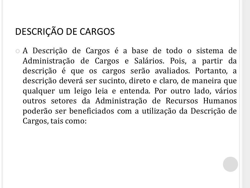 DESCRIÇÃO DE CARGOS