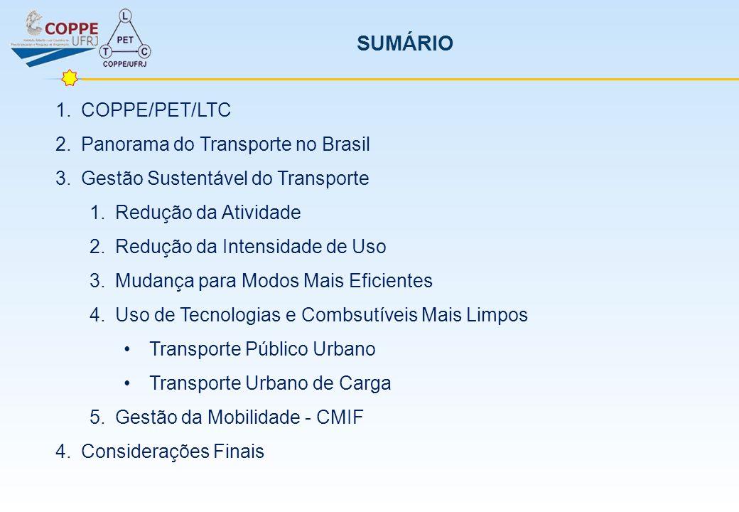 SUMÁRIO COPPE/PET/LTC Panorama do Transporte no Brasil