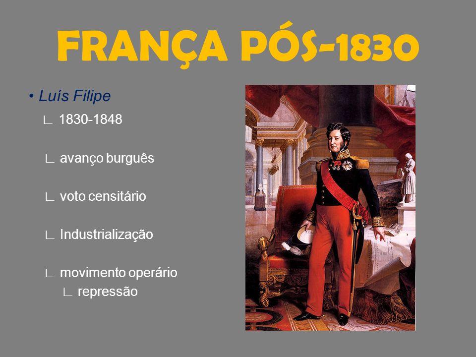 FRANÇA PÓS-1830 • Luís Filipe ∟ 1830-1848 ∟ avanço burguês