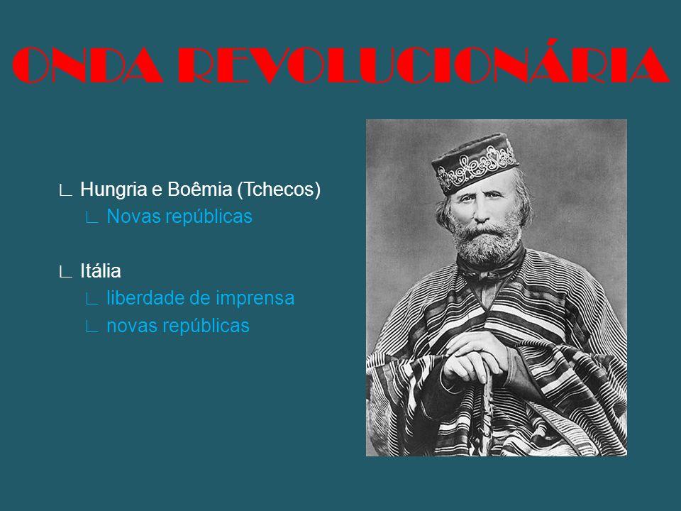 ONDA REVOLUCIONÁRIA ∟ Hungria e Boêmia (Tchecos) ∟ Novas repúblicas ∟ Itália ∟ liberdade de imprensa ∟ novas repúblicas