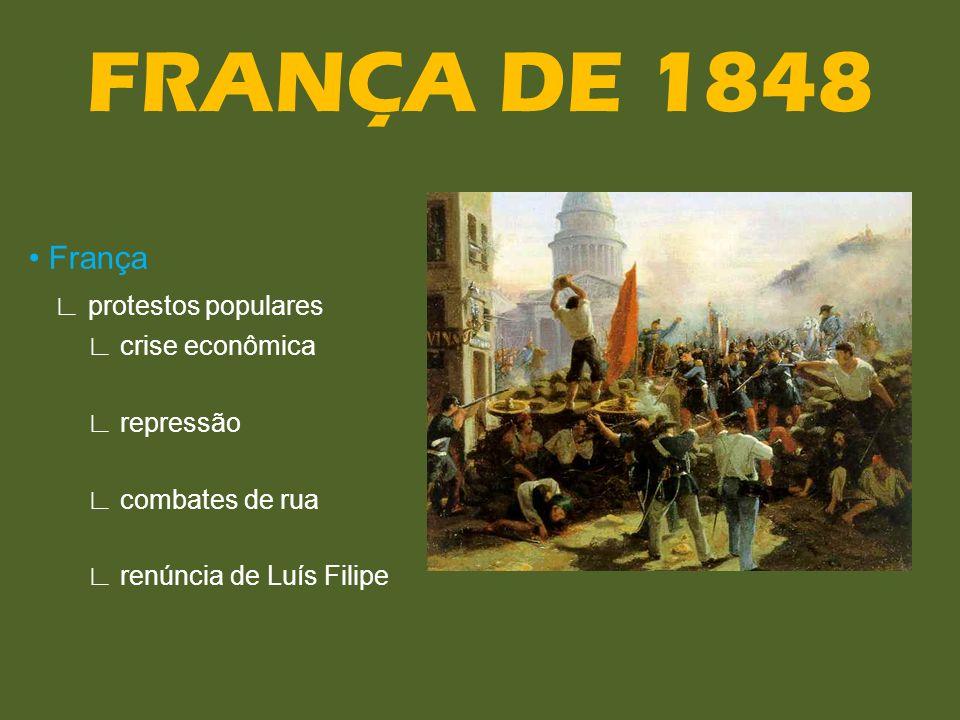 FRANÇA DE 1848 • França ∟ protestos populares ∟ crise econômica