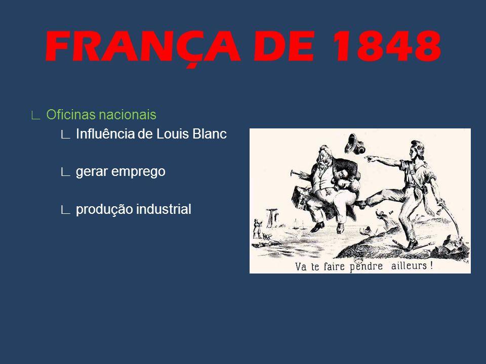FRANÇA DE 1848 ∟ Oficinas nacionais ∟ Influência de Louis Blanc ∟ gerar emprego ∟ produção industrial