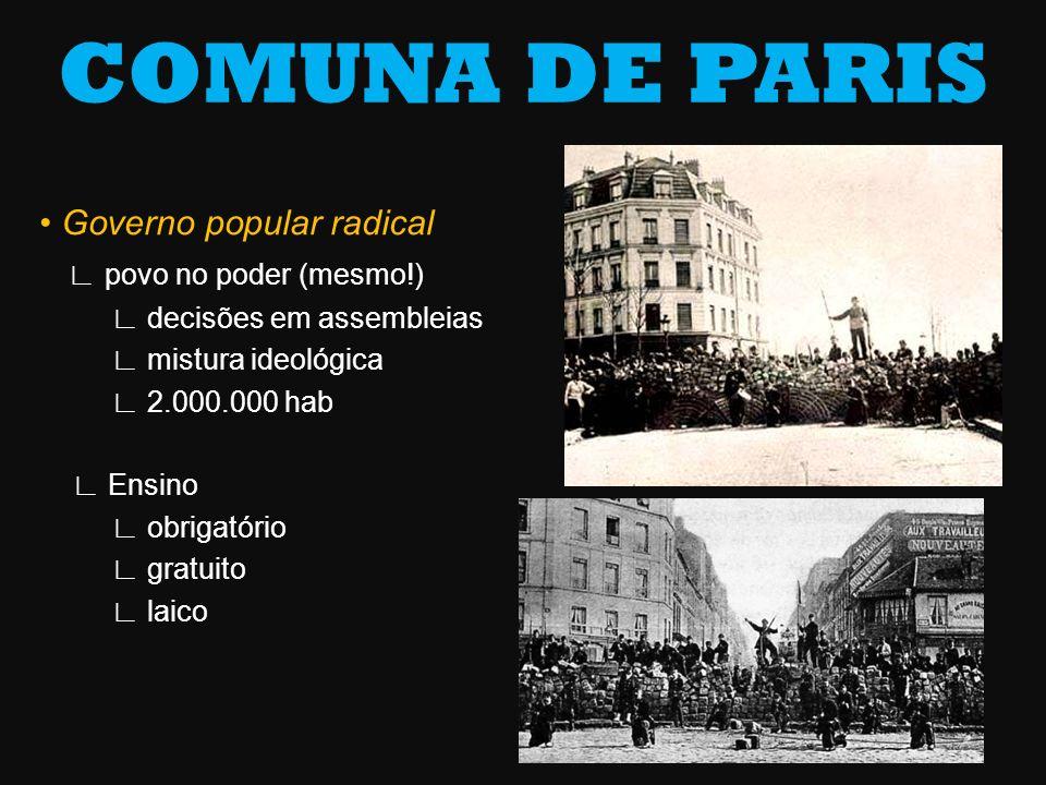 COMUNA DE PARIS • Governo popular radical ∟ povo no poder (mesmo!)