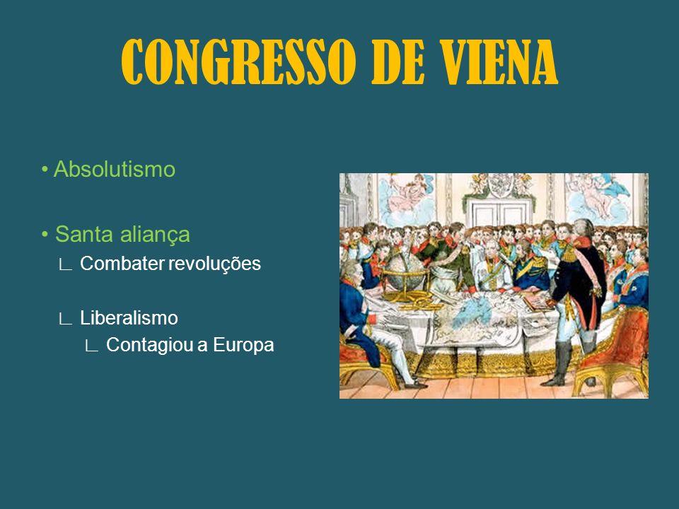 CONGRESSO DE VIENA • Absolutismo • Santa aliança ∟ Combater revoluções