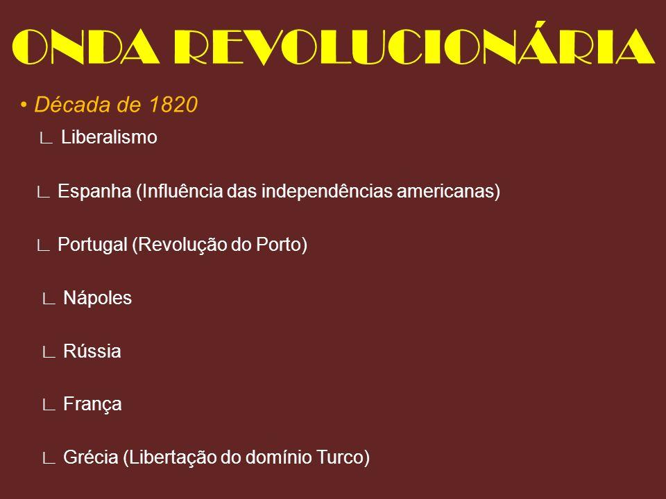 ONDA REVOLUCIONÁRIA • Década de 1820 ∟ Liberalismo