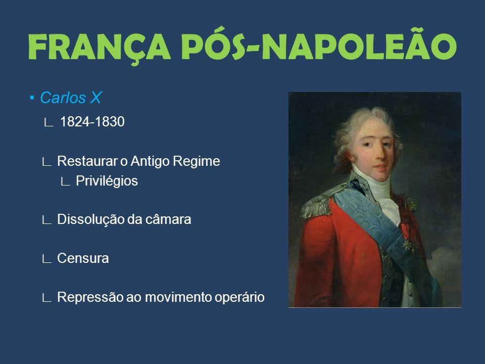 FRANÇA PÓS-NAPOLEÃO • Carlos X ∟ 1824-1830 ∟ Restaurar o Antigo Regime