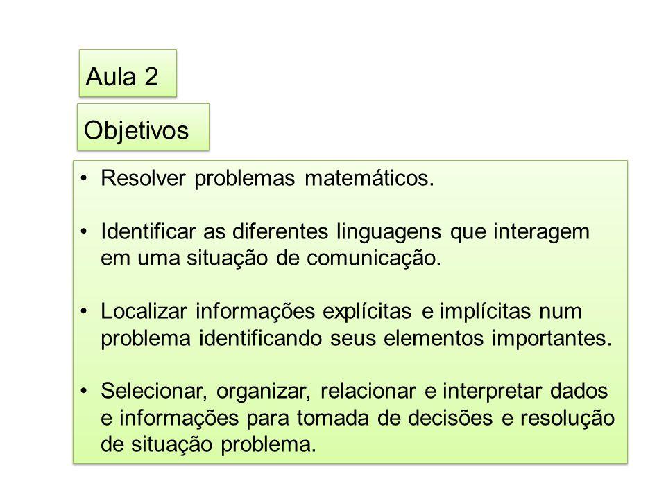 Aula 2 Objetivos Resolver problemas matemáticos.