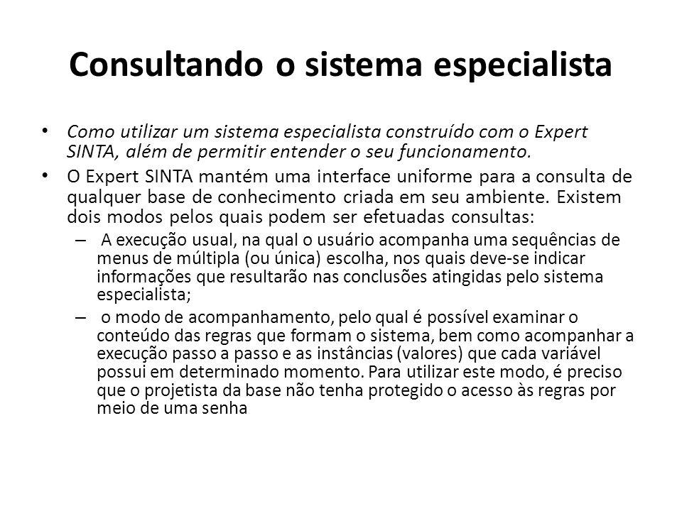 Consultando o sistema especialista