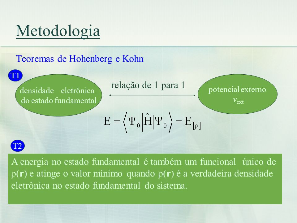 Metodologia Teoremas de Hohenberg e Kohn relação de 1 para 1