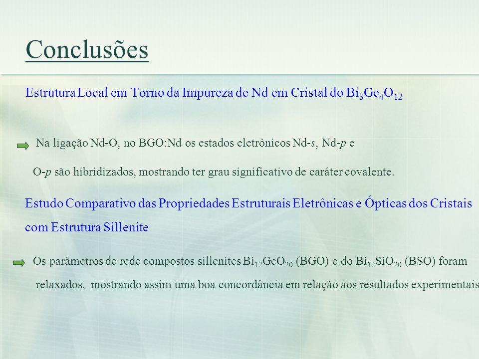 Conclusões Estrutura Local em Torno da Impureza de Nd em Cristal do Bi3Ge4O12. Na ligação Nd-O, no BGO:Nd os estados eletrônicos Nd-s, Nd-p e.