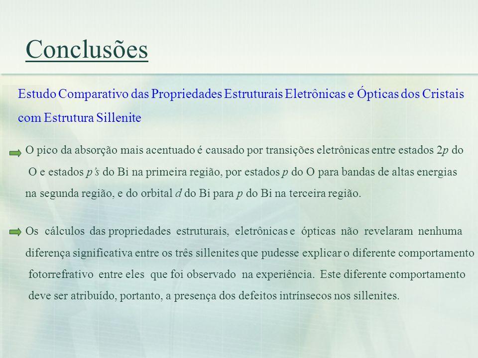 Conclusões Estudo Comparativo das Propriedades Estruturais Eletrônicas e Ópticas dos Cristais. com Estrutura Sillenite.