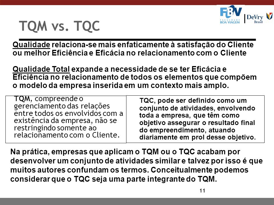 TQM vs. TQC Qualidade relaciona-se mais enfaticamente à satisfação do Cliente ou melhor Eficiência e Eficácia no relacionamento com o Cliente.