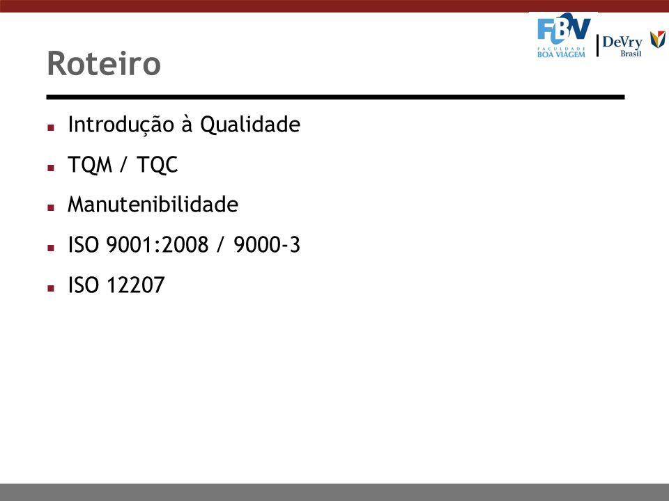 Roteiro Introdução à Qualidade TQM / TQC Manutenibilidade