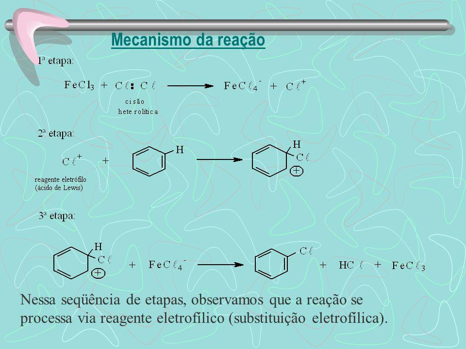 Mecanismo da reação Nessa seqüência de etapas, observamos que a reação se processa via reagente eletrofílico (substituição eletrofílica).