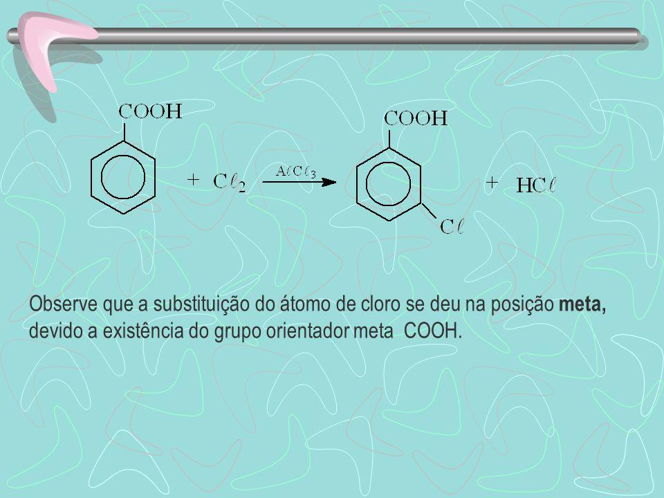 Observe que a substituição do átomo de cloro se deu na posição meta, devido a existência do grupo orientador meta COOH.